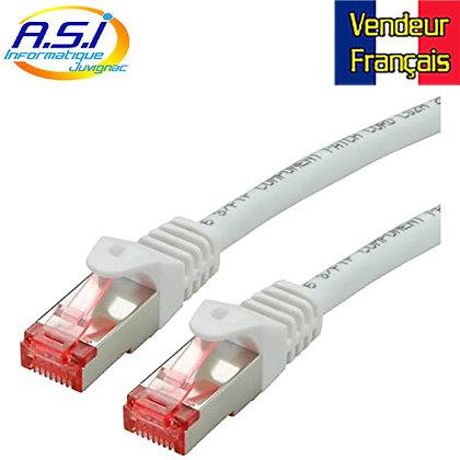 Câble rj45 cat6 blanc 15m ethernet réseau VENDEUR FRANÇAIS
