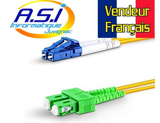 Câble fibre optique LC vers SC/APC monomode duplex 1m VENDEUR FRANCAIS
