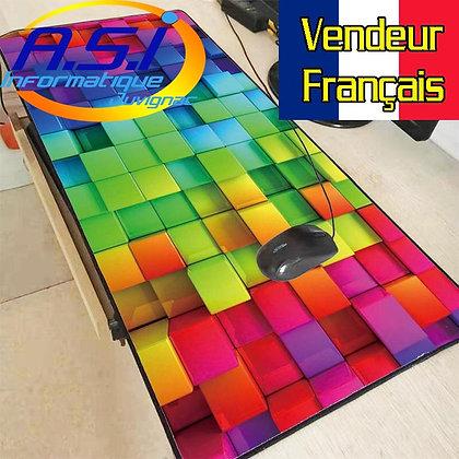 Grand Tapis de souris Gaming carreaux multicolore Damier Gamer XL VENDEUR FR