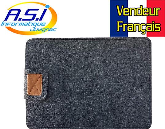 """Housse ordinateur gris noir portable PC MacBook Apple Mac 15"""" VENDEUR FRANÇAIS"""