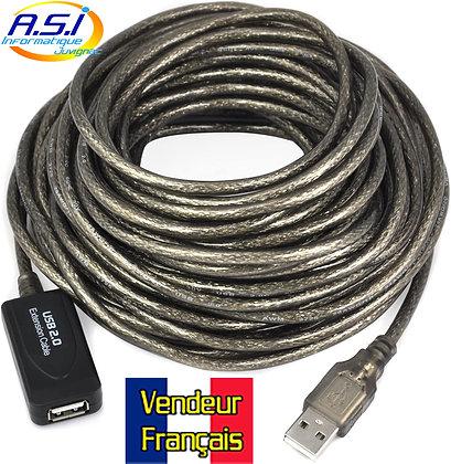 Câble rallonge USB 2 mâle Femelle 10m Extension, prolongateur VENDEUR FRANÇAIS