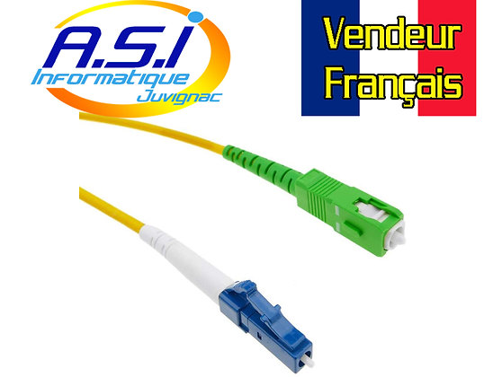 Câble Fibre Optique LC/UPC à SC/APC monomode simplex 9/125 de 5 m