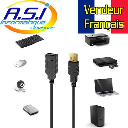 Câble rallonge USB 2 mâle Femelle 15m Extension, prolongateur VENDEUR Français