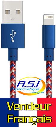 Cable iPhone [Certifié Apple MFi] 1m USB Lightning Cable Nylon Tressé