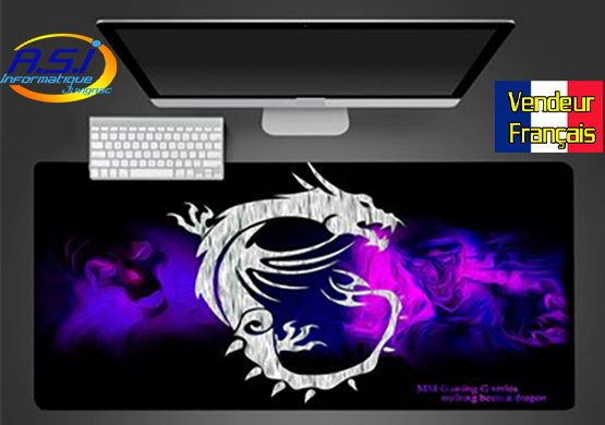 Grand Tapis de souris Gamer ordinateur Gaming MSI Dragon Blanc et violet