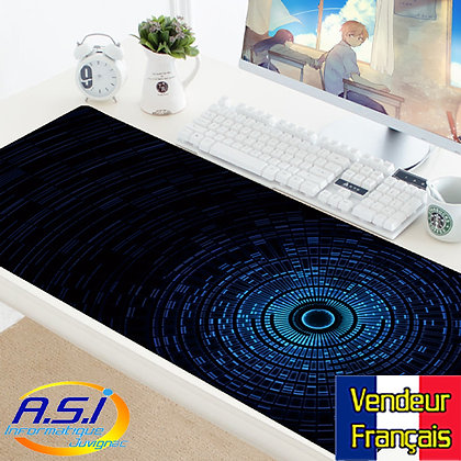 Tapis de souris Bleu et noir Gaming design XXL Grand format VENDEUR FRANÇAIS