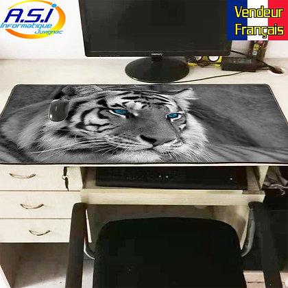 Grand Tapis de souris Gamer ordinateur Gaming Tigre Noir Blanc yeux bleus
