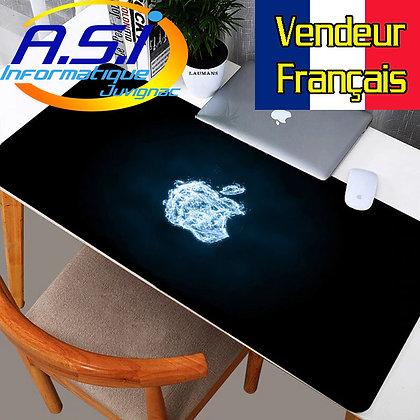 Tapis de souris Gaming Pomme XL Grand Format noir bleu gamer VENDEUR FRANCAIS