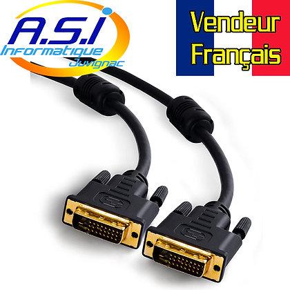 Cable DVI-D Dual link résolution TV HD 5m VENDEUR FRANCAIS