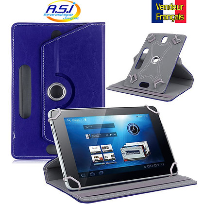 Coque Etui universel Housse universelle tablette 10 pouces Effet cuir Bleu foncé