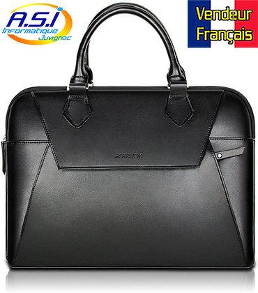 """Sacoche Ordinateur 15"""" Housse noir (noire) PC MAC simili cuir VENDEUR FRANÇAIS"""