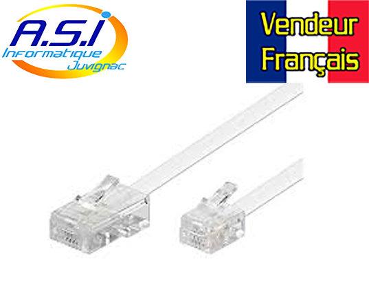 Câble Téléphone RJ11 RJ45 pour téléphonie box ADSL Modem 2m VENDEUR FRANÇAIS