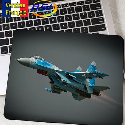 Tapis de souris Ordinateur Avion Militaire chasseur Armée bleu