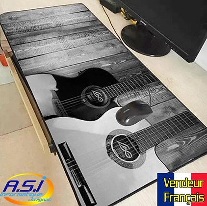 Grand Tapis de souris xl Gamer ordinateur Gaming Musique Musicien Guitare Gris