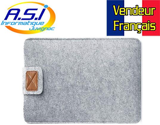 """Housse ordinateur gris portable PC MacBook Apple Mac 15"""" VENDEUR FRANÇAIS"""