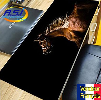 Grand Tapis de souris xl Gamer ordinateur Gaming Cheval Marron sur fond noir