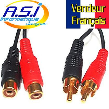 Câble Audio Rallonge RCA Mâle Femelle Stéréo 3m mètres VENDEUR FRANCAIS