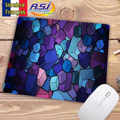 Tapis de souris Ordinateur Forme géometrique graphique Cube rose bleu violet