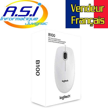 Souris Logitech blanche B100 à Fil USB VENDEUR FRANCAIS