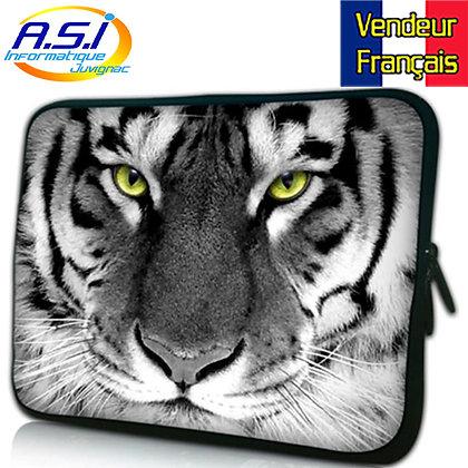 """Sacoche Housse Tigre ordinateur PC portable Apple Mac Macbook 15"""" VENDEUR FRA"""