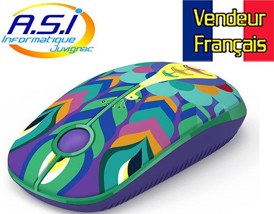Souris sans fil dessin Paon rose violet bleu vert orange VENDEUR FRANÇAIS