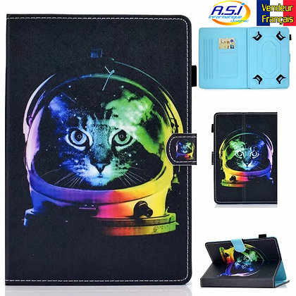 """Coque universel Housse universelle tablette 10"""" pouces Chat cosmonaute"""