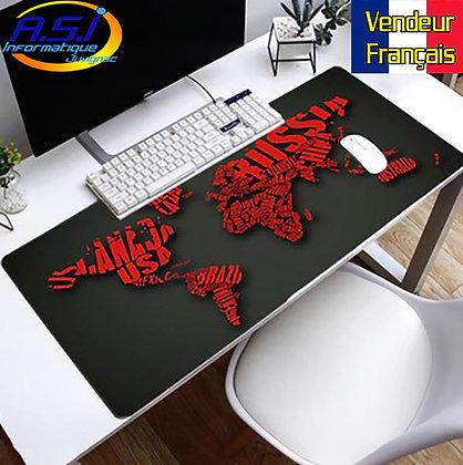 Grand Tapis de souris xl Gamer ordinateur Gaming Map Carte Monde Noir et Rouge