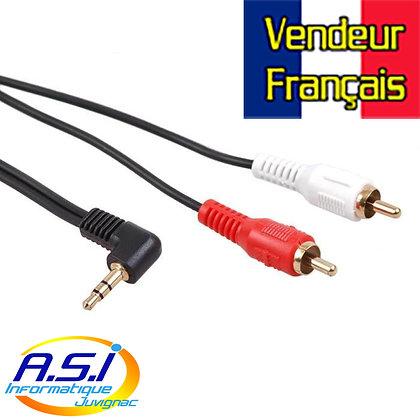 Câble RCA cinch Mini-Jack 15m coudé VENDEUR FRANÇAIS