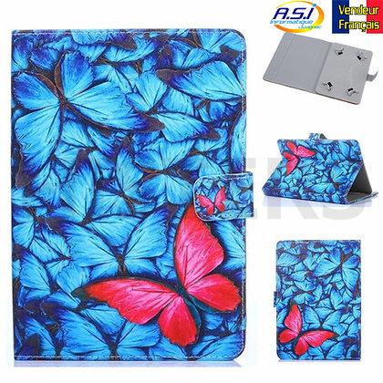 """Coque Etui universel Housse universelle tablette 10"""" pouces Papillons bleu rouge"""