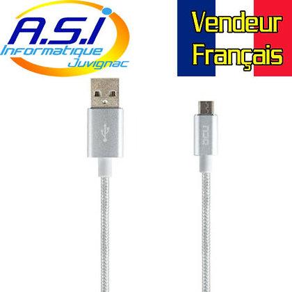 Câble USB / Micro - USB 1m DCU Charge et Sync Gris VENDEUR FRANÇAIS