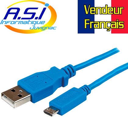 Cable Smartphone Téléphone Tablette Startech USB vers Micro-USB 1m bleu
