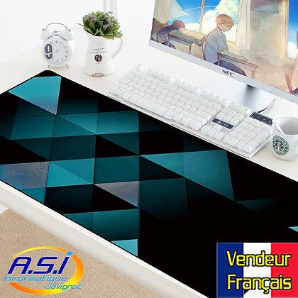 Tapis de souris Gamer Bleu Damier design XXL Grand format VENDEUR FRANÇAIS