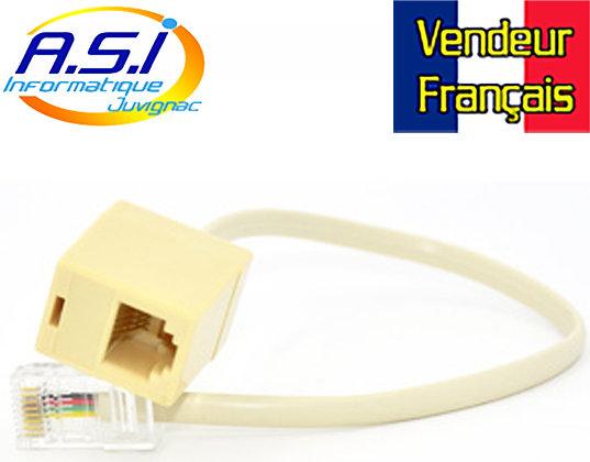 Câble convertisseur adaptateur RJ45 (réseau) vers RJ11 (téléphone) VENDEUR FRA