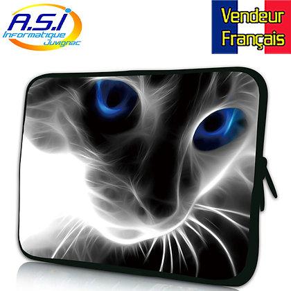"""Housse chat bleu ordinateur PC portable Apple Mac MacBook 15"""" VENDEUR FRANÇAIS"""