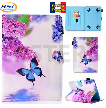 """Coque universel Housse universelle tablette 10"""" pouces Papillon bleu fleur rose"""