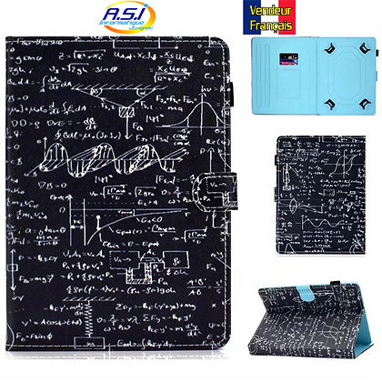 """Coque universel Housse universelle tablette 10"""" pouces Formule Math noir"""