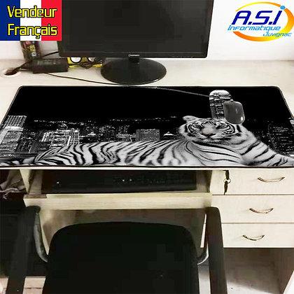 Grand Tapis de souris Gamer ordinateur Gaming Tigre Noir Blanc