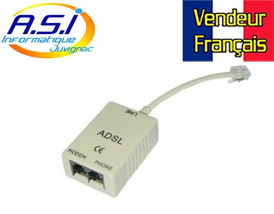 Filtre ADSL Lindy 1 mâle 2 femelles RJ11- VENDEUR FRANÇAIS