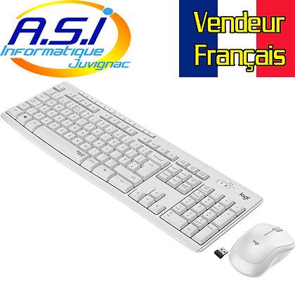 Kit clavier souris sans fil Logitech MK 295 blanc