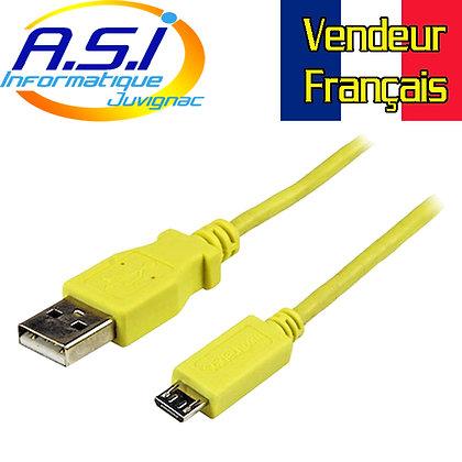 Cable Smartphone Téléphone Tablette Startech USB vers Micro-USB 1m jaune