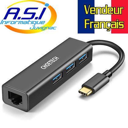 Hub USB-C / switch USB / splitter USB vers USB 3 + RJ45