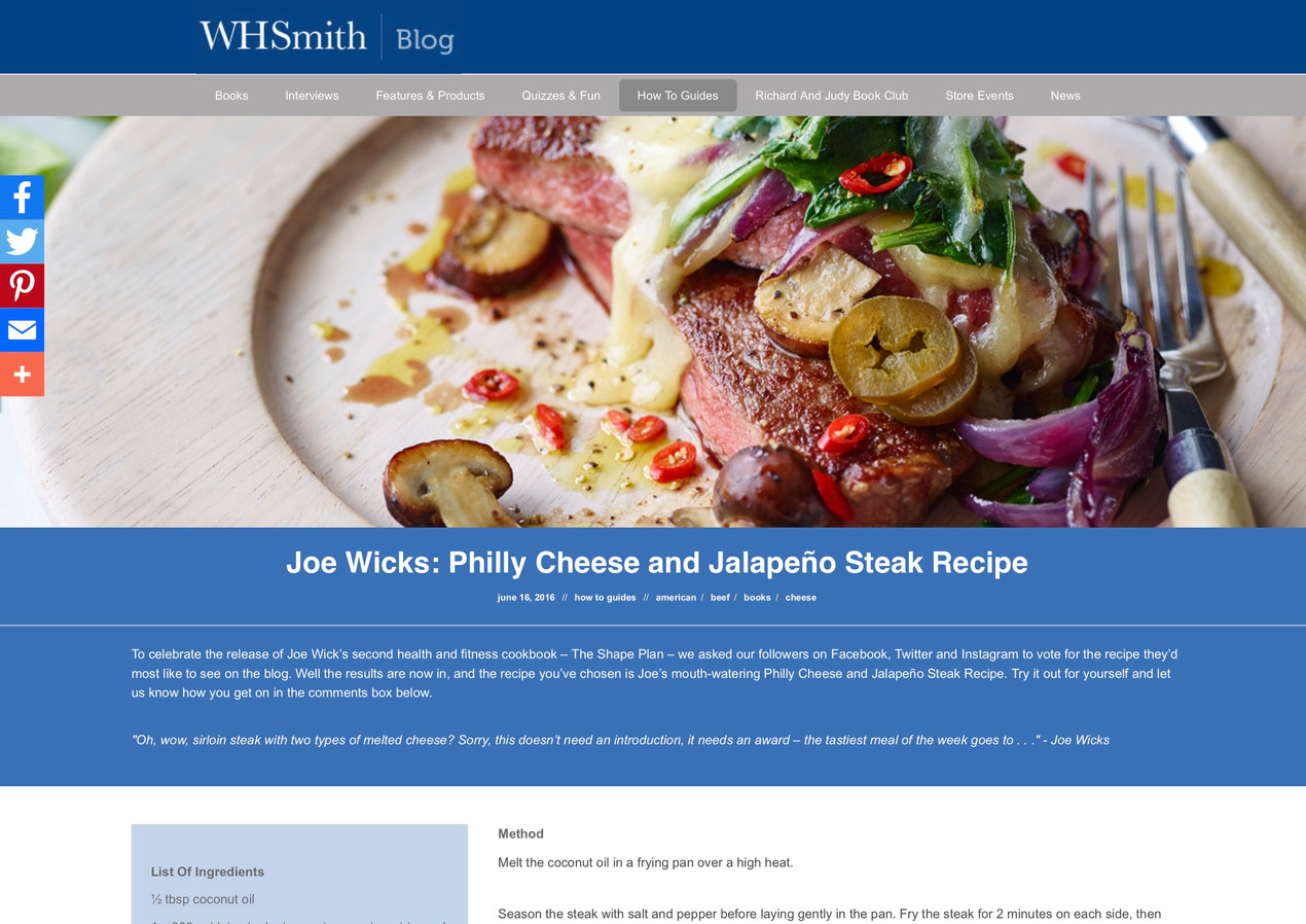 Joe Wicks: Philly Cheese and Jalapeño Steak Recipe