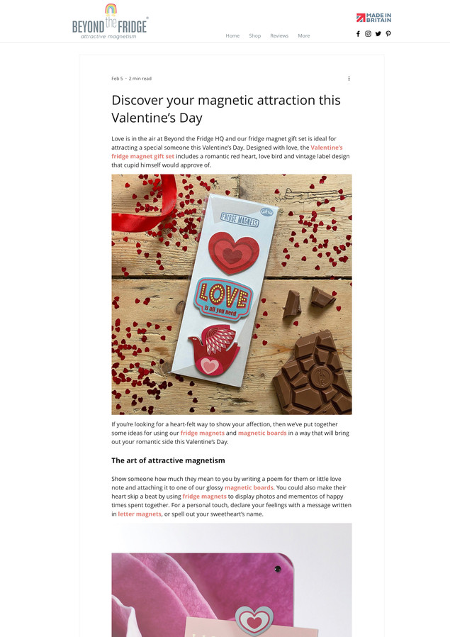 Beyond the Fridge Valentine's Day Magnet Gift Set Launch