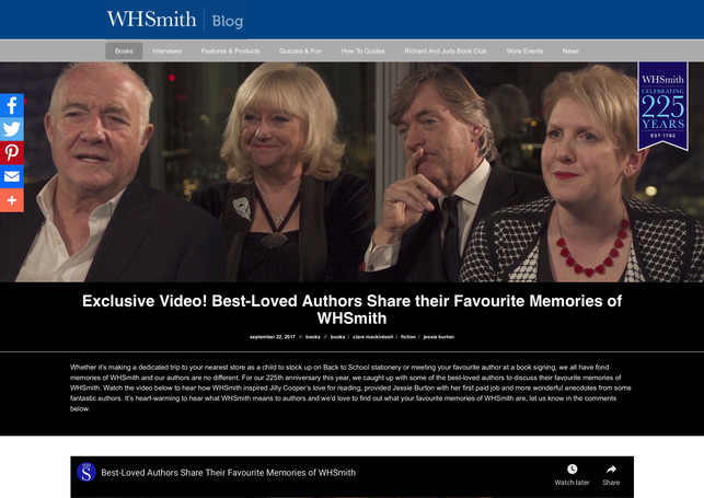 Exclusive Video! Best-Loved Authors Share their Favourite Memories of WHSmith