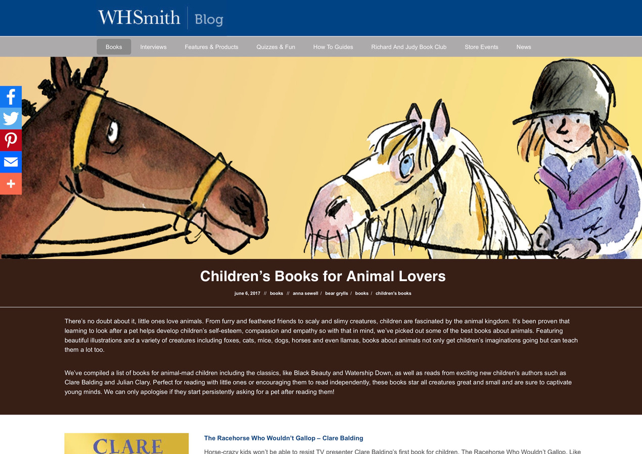 Children's Books for Animal Lovers - WHS