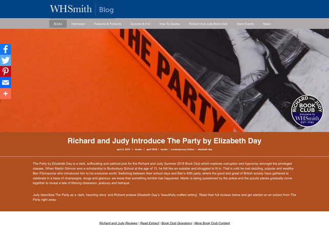 Richard and Judy Introduce The Party by Elizabeth Day