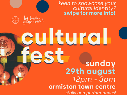 Calling on cultural performers and stallholders! HYC's Ormiston Cultural Festival is here