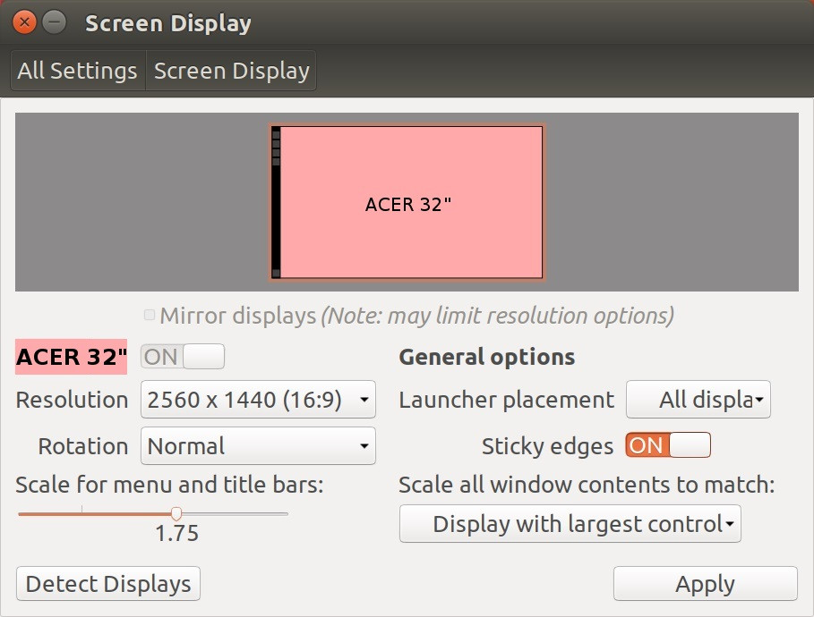 Screen display options panel from Ubuntu with Scale for menu and title bars increased.