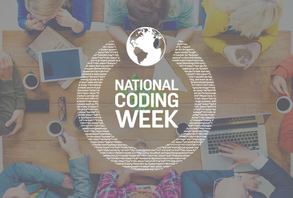 National Coding Week logo, people sat around a table with a tablet, laptop and coffee mugs.