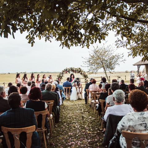 Vintage ceremónia esküvőfotó